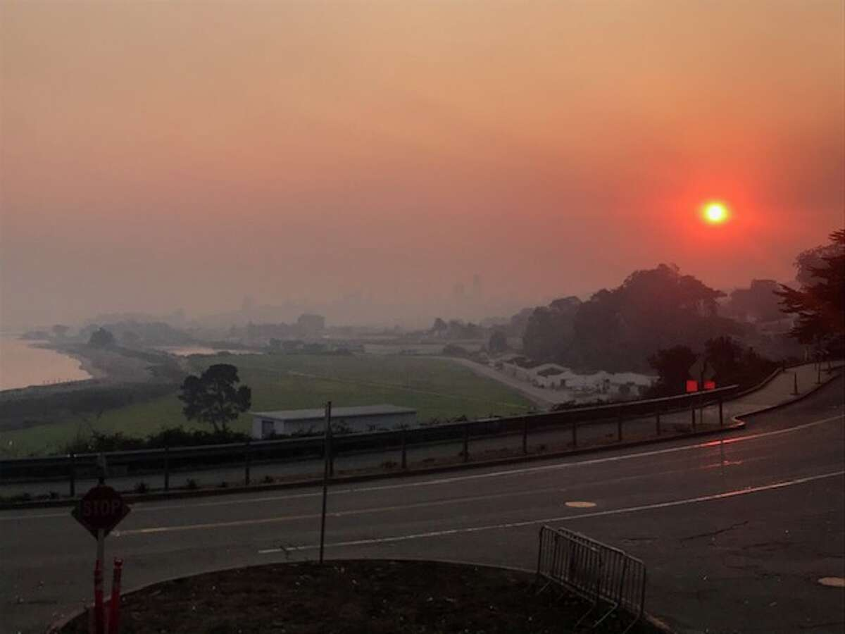 Smoke blankets the San Francisco Bay Area as smoke from the Camp Fire near Chico drifts into the region.