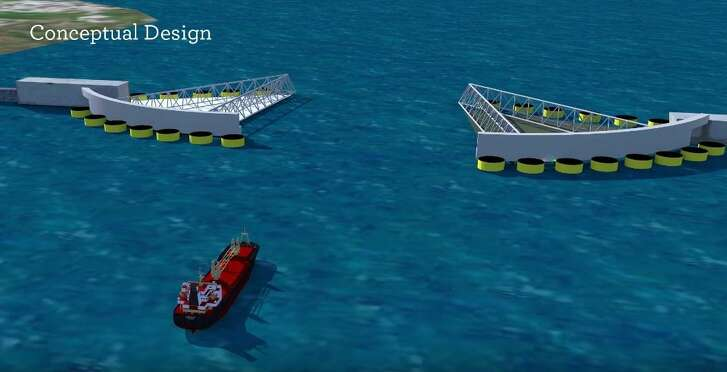 Pictured are conceptual designs for storm surge gates at the entrance of Galveston Bay. These would be part of a proposed barrier system that could provide protection against tropical storms and hurricanes.