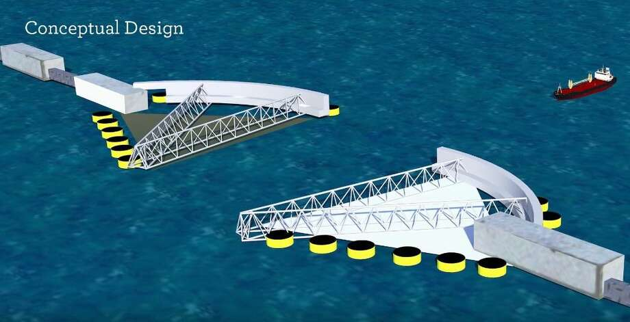 Pictured are conceptual designs for storm surge gates at the entrance of Galveston Bay. These would be part of a proposed barrier system that could provide protection against tropical storms and hurricanes. Photo: U.S. Army Corps Of Engineers Video