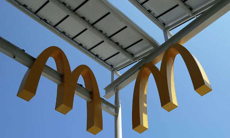 This Aug. 8, 2018, photo shows logos of McDonald's Chicago flagship restaurant. Photo: AP Photo/Nam Y. Huh, File