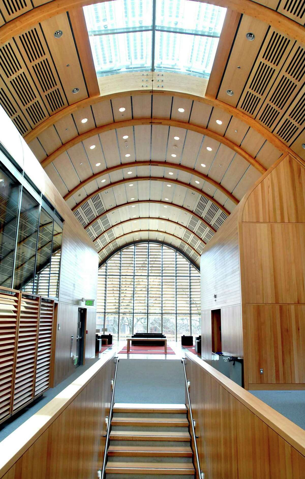 The upper floor of the Yale School of Forestry & Environmental Studies' Kroon Hall.