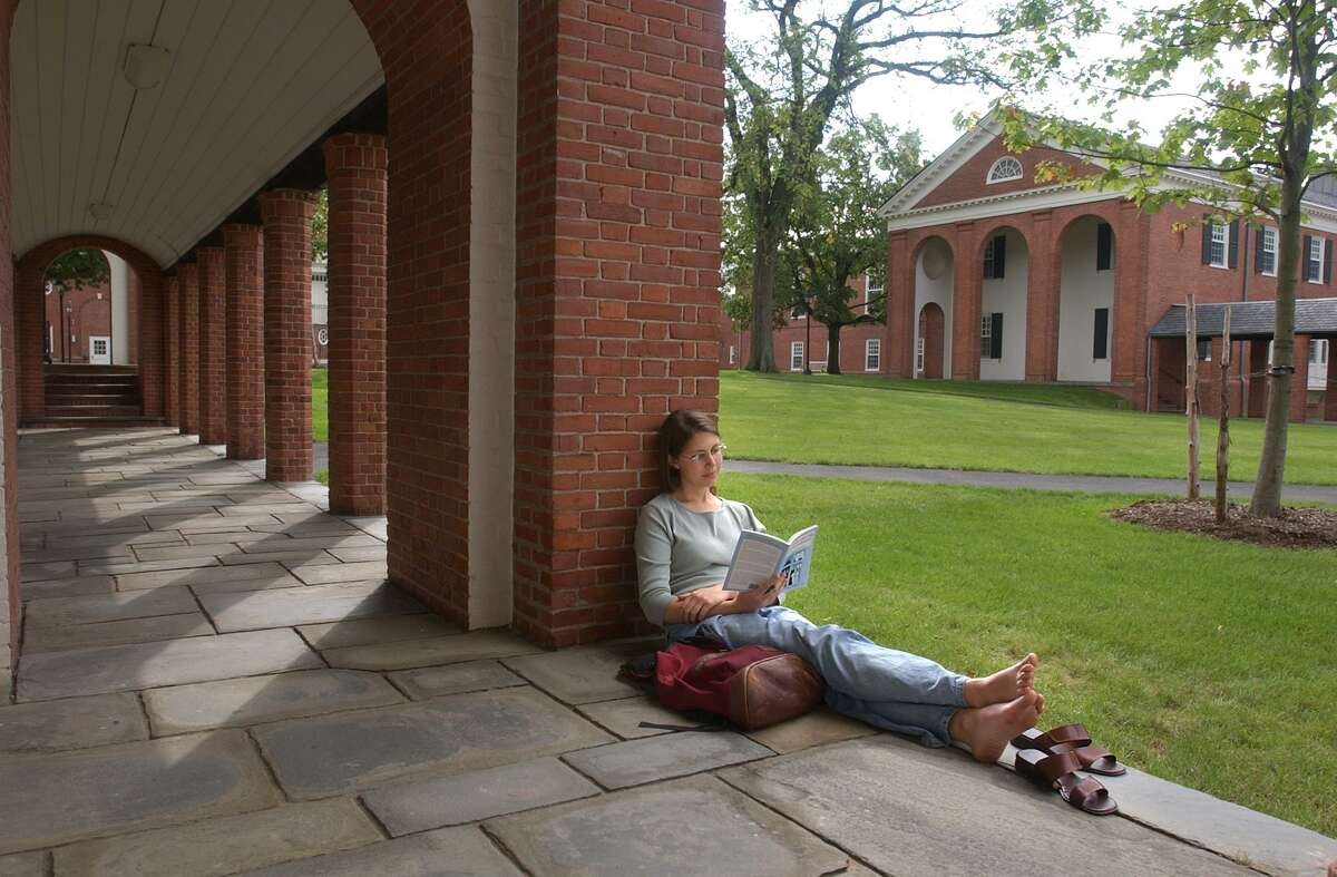 A student relaxes at the Yale Divinity School.