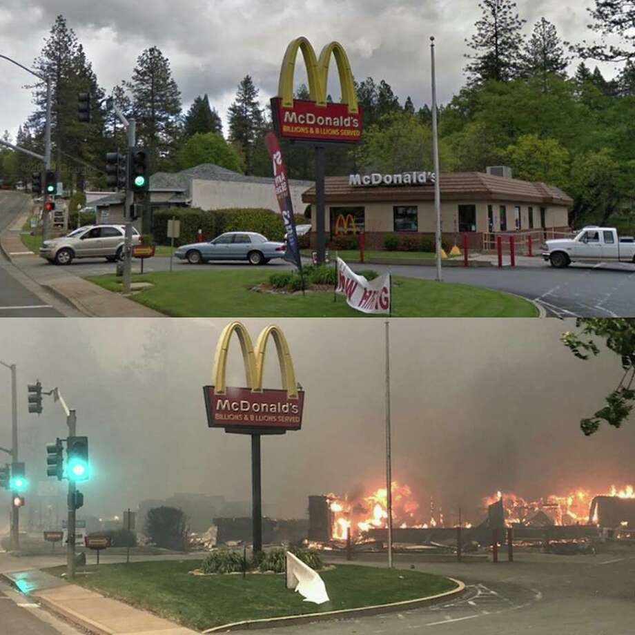 McDonald's in Paradise, Calif., as the Camp Fire devours the town, 15 miles east of Chico. The top photo shows the fast-food restaurant before it was engulfed in flames. Photo: Oakland Fire Department