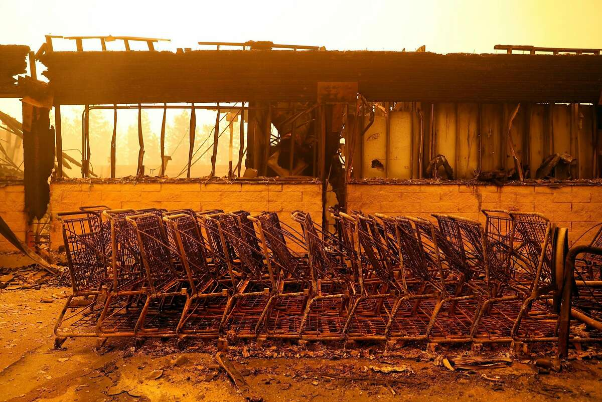 The Safeway grocery store was gutted during Camp Fire in Paradise, Calif. on Friday, November 9, 2018.