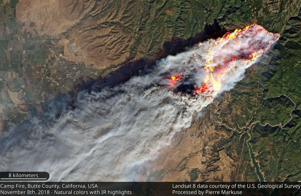 Pierre Markuse processed this satellite and infrared imagery from Landsat 8 of the Camp Fire in Butte County on November 8, 2018.