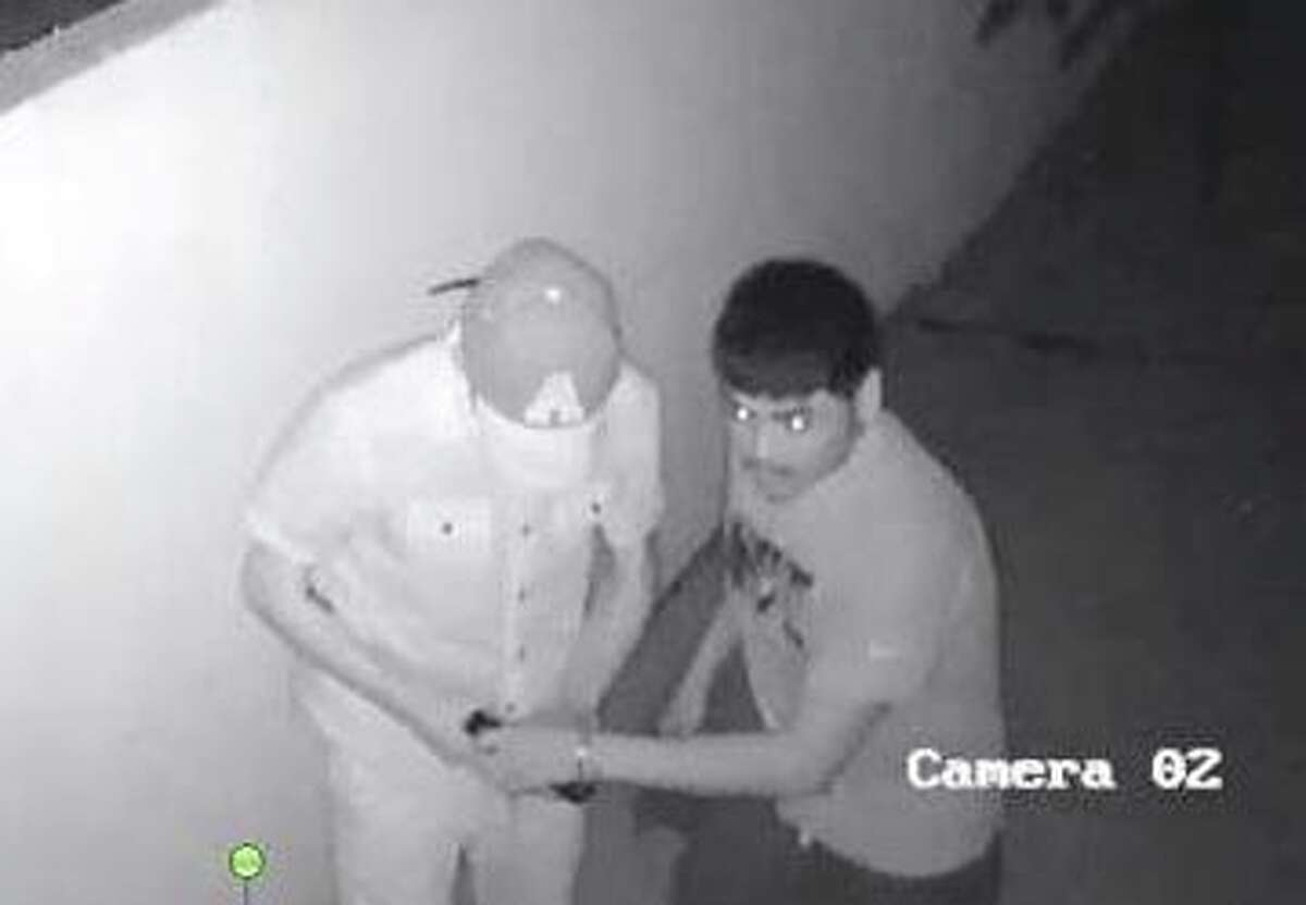 Laredo police need to identify these two men who allegedly jumped a fence and entered a shed in an east Laredo property.