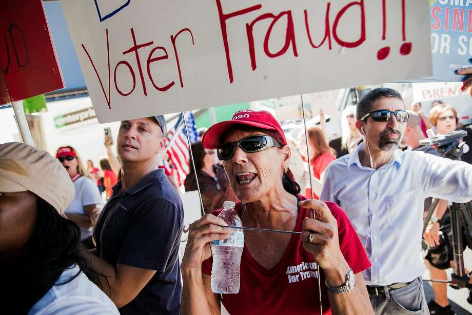 Supporters of Republican gubernatorial candidate Ron DeSantis protest in Lauderhill at the office of Brenda Snipes, a Democrat who is supervisor of elections for Broward County. Photo: Scott Mcintyre / New York Times