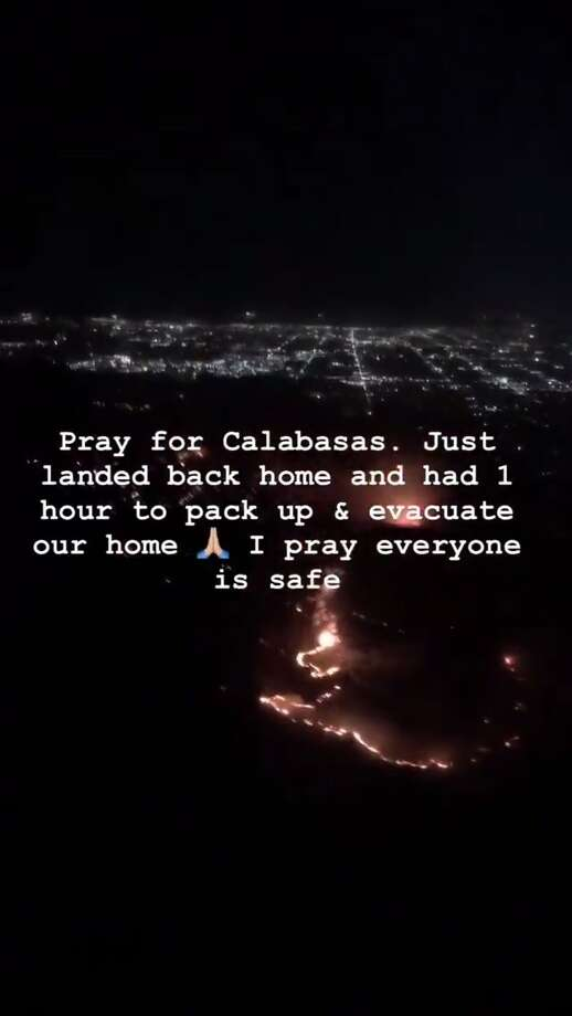 Kim Kardashian evacuated her home near Malibu as the Woolsey Fire burned in Southern California Thursday. Tens of thousands of people were ordered to evacuate, but there were no injuries to residents or firefighters, said Los Angeles County Deputy Fire. Photo: Social Media Screen Grab