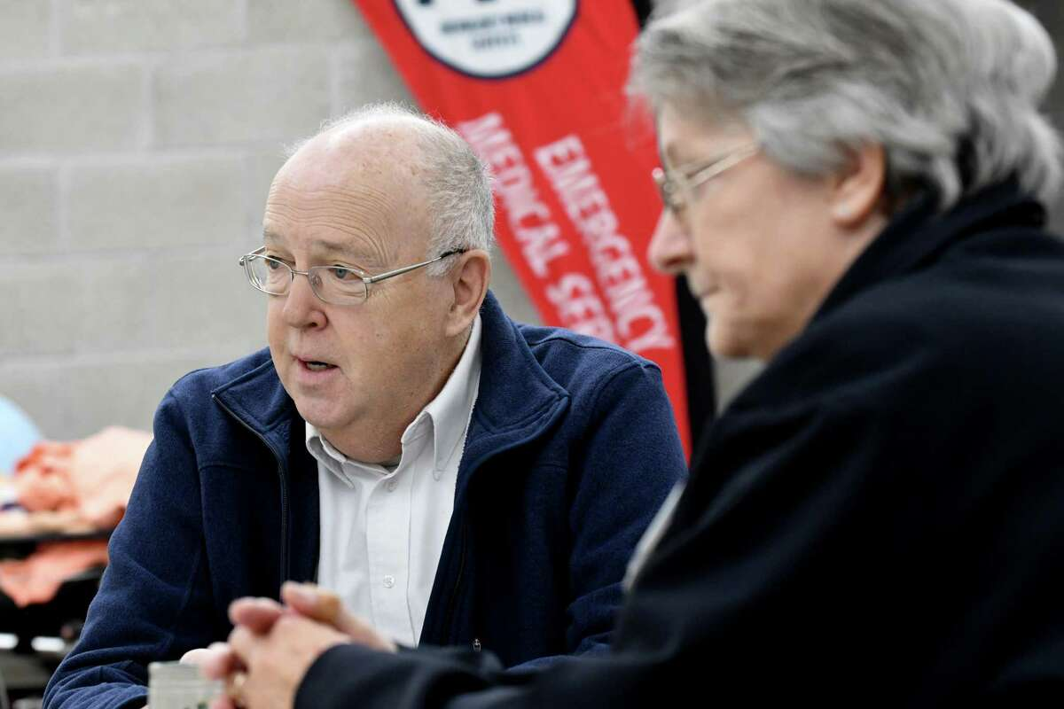 Malta-Stillwater EMS vice president Peter Klotz, left, and Jean Tranka, president, right, are interviewed at the ambulance station on Route 9 on Friday, Nov. 9, 2018, in Malta, N.Y. (Will Waldron/Times Union)