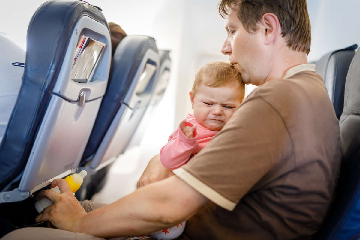 Air travel - Survey result Crying baby - 27 percent response; ranked second It's not an instance where you're mad. Babies cry and they can't help it, it's their one way to communicate what's wrong. But for anyone traveling in a cramped, metal tube, the sound of a banshee screaming in the back makes it hard to enjoy the complimentary snacks and coffee (if the flight even offers them).