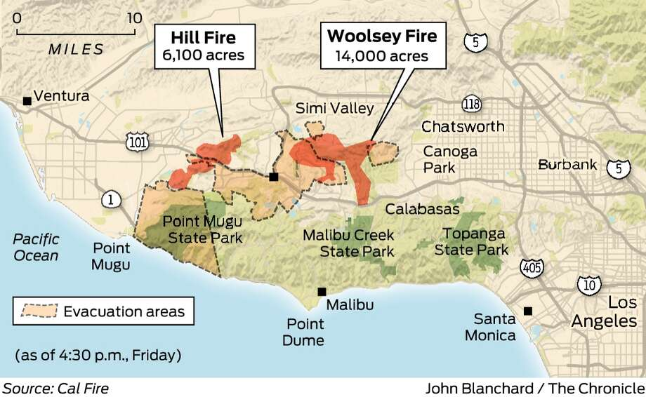 Fire Map In Southern California.Southern California Blaze Pushes Toward Malibu Sfgate