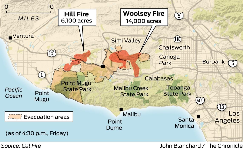 Hill Fire California Map.Southern California Blaze Pushes Toward Malibu Sfchronicle Com