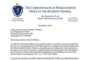 A letter was initiated by Massachusetts Attorney General Maura Healey and is dated Nov. 8, 2018.