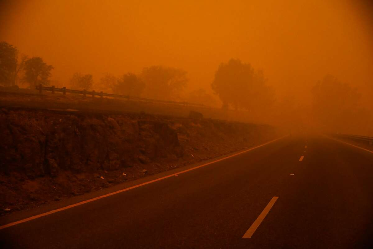 Haze from the Camp Fire is seen on Skyway Highway in Paradise, California, on Friday, Nov. 9, 2018.