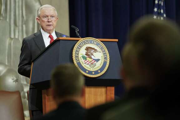 Attorney General Jeff Sessions speaking at the U.S. Marshals Service 37th Director's Honorary Awards Ceremony, at the Department of Justice in Washington, Thursday, Nov. 1, 2018. (AP Photo/Pablo Martinez Monsivais)