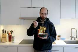 Ryan Parks consumes a carnivore breakfast of a pound of ground beef and melted provolone cheese at his home in San Francisco, Calif. on Friday, Nov. 9, 2018. Parks converted to a zero carb diet in July.