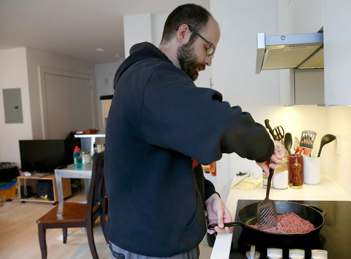 Ryan Parks cooks a pound of ground beef for his carnivore breakfast at his home in San Francisco, Calif. on Friday, Nov. 9, 2018. Parks converted to a zero carb diet in July.