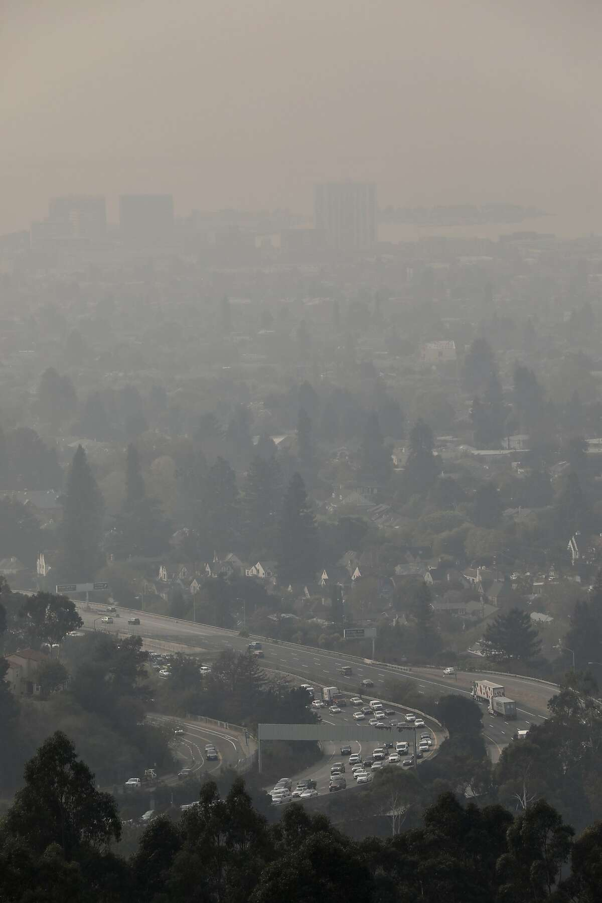 Smoky air fills the sky in Oakland, as seen from Hiller Highlands. Public schools in Oakland kept students inside for physical education classes.