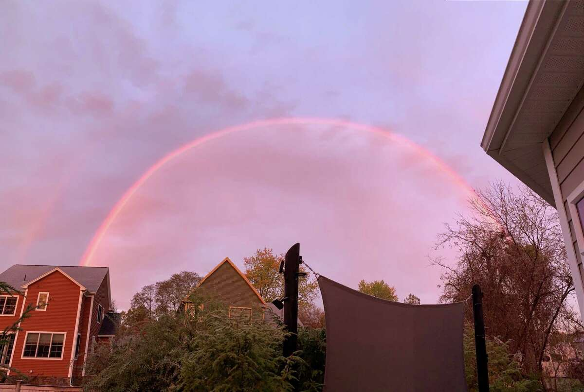 Saratoga Springs resident Sean Walmsley rose early on Oct. 31, happened to look outside to the western sky and was completely taken aback to see this rainbow, with light rain falling when the temp was 26 degrees.
