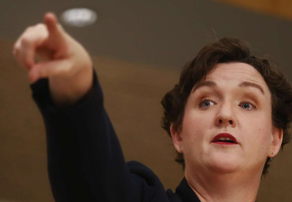 TUSTIN, CA - OCTOBER 22: Democratic congressional candidate Katie Porter speaks at a campaign town hall in Orange County on October 22, 2018 in Tustin, California. Porter is competing for the seat against Republican incumbent U.S. Rep. Mimi Walters. Democrats are targeting seven congressional seats in California, currently held by Republicans, where Hillary Clinton won in the 2016 presidential election. These districts have become the centerpiece of their strategy to flip the House and represent nearly one-third of the 23 seats needed for the Democrats to take control of the chamber in the November 6 midterm elections. (Photo by Mario Tama/Getty Images)
