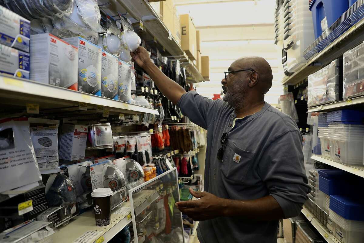 David Anderson shops for a respirator at Ace Hardware store, located at 1221 Grand Ave., in Piedmont, Calif. on Friday, November 9, 2018. Air masks at the store are ranging from $3.28 to $39.99.