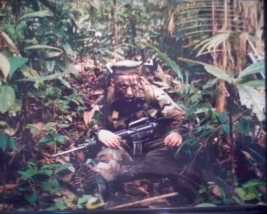 Author and Marine Daniel Valdez participates in jungle training in Singapore circa 1998. Valdez will give a presentation today at Barnes & Noble, Loop 410 and San Pedro Avenue, noon to 5 p.m. Photo: Courtesy Photo