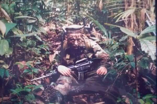 Author and Marine Daniel Valdez participates in jungle training in Singapore circa 1998. Valdez will give a presentation today at Barnes & Noble, Loop 410 and San Pedro Avenue, noon to 5 p.m.