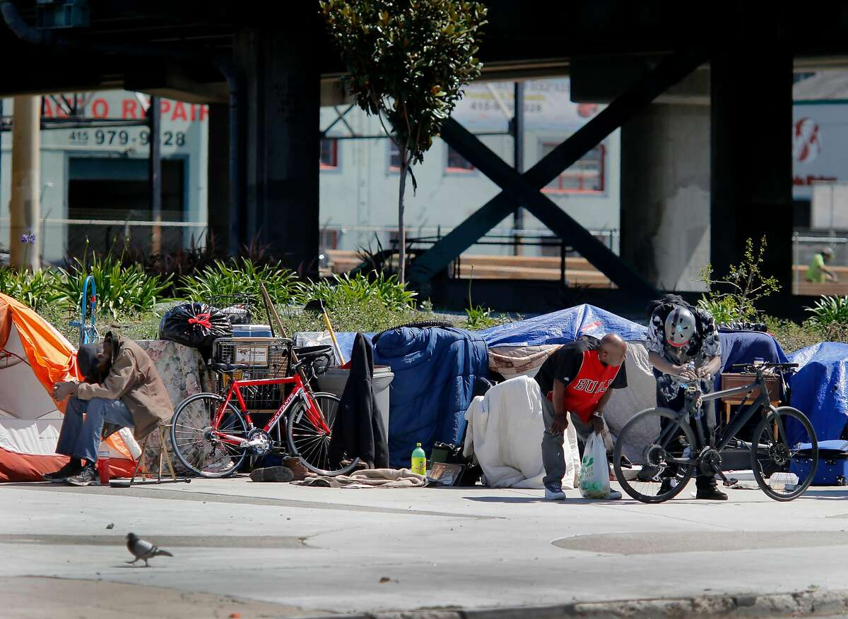 Residents and visitors of the large encampment at Fifth and Bryant Streets cheered the new legislation but found little chance of it passing and helping their situation Wednesday April 8, 2015. Southern California State Senator Carol Liu has introduced legislation to create a
