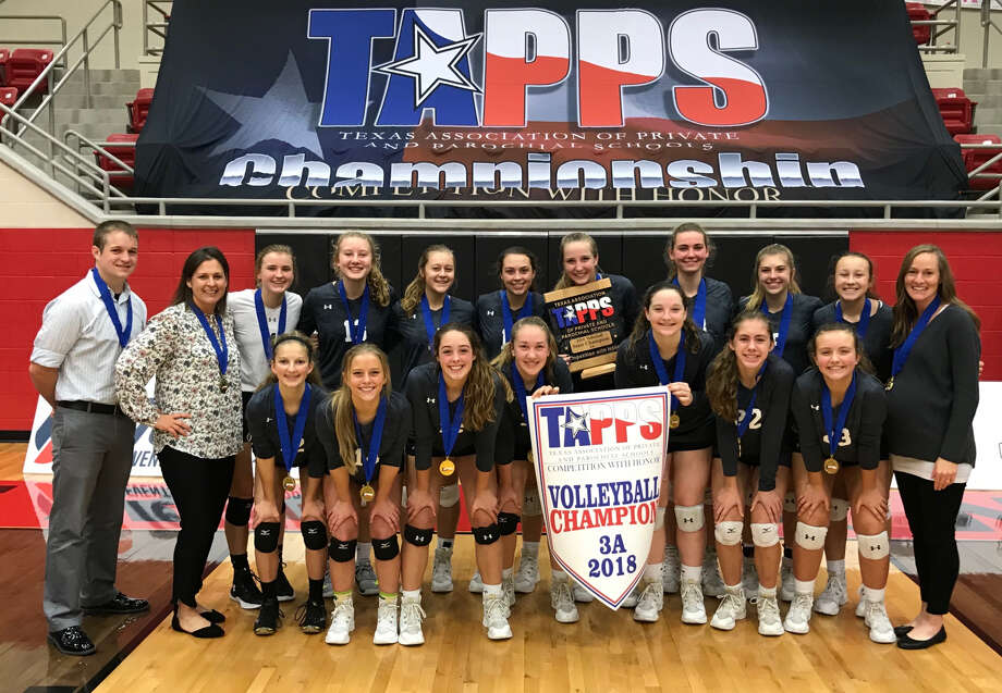 The Midland Classical Academy volleyball team poses after winning the TAPPS 3A state championship at West High School on Friday afternoon. Photo: Courtesy Photo