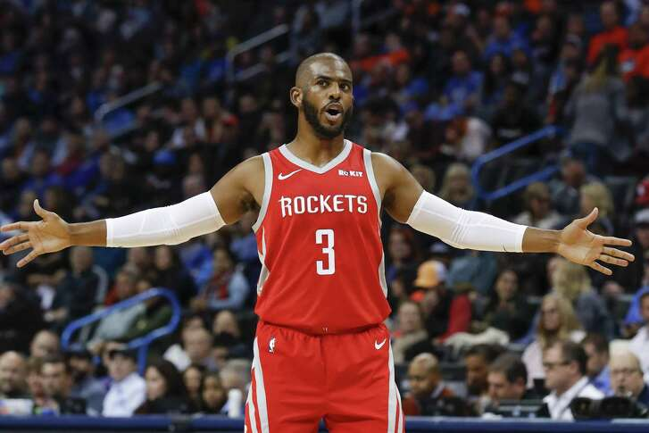 Houston Rockets guard Chris Paul (3) during the first half of an NBA basketball game against the Oklahoma City Thunder on Thursday, Nov. 8, 2018, in Oklahoma City. (AP Photo/Alonzo Adams)