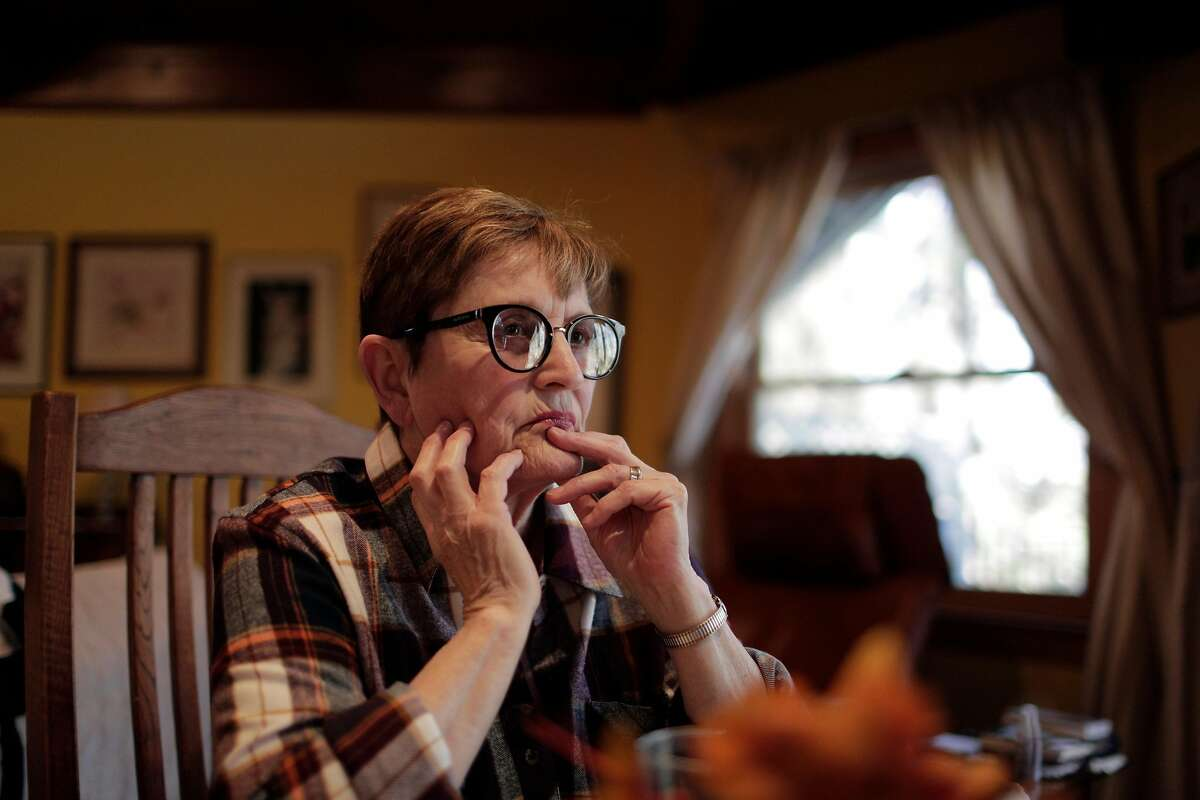 Connie Brown Henderson pauses as she recalls her husband Bob Brown in her home in Grass Valley, Calif., on Tuesday, October 30, 2018. Brown Henderson is the widow of Bob Brown, the veteran NBC cameraman who was shot to death in 1978 at Jonestown along with Congressman Leo Ryan and three others as they tried to leave with defectors from the cult -- Brown kept filming even as he was shot. She and Brown were married years before, but they had to move to San Francisco because he was black and she was white and their union was illegal in Indiana where they lived.