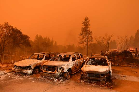 Abandoned vehicles sit at a car lot in Paradise, north of Sacramento, California on November 09, 2018. - A rapidly spreading, late-season wildfire in northern California has burned 20,000 acres of land and prompted authorities to issue evacuation orders for thousands of people. As many as 1000 homes, a hospital, a Safeway store and scores of other structures have burned in the area as the Camp fire tore through the region. (Photo by Josh Edelson / AFP)JOSH EDELSON/AFP/Getty Images