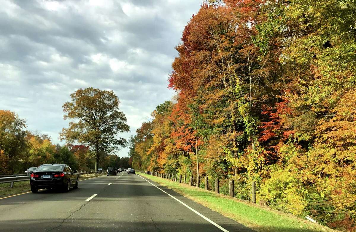Merritt Parkway southbound fall foliage in Westport, Conn. in 2016.