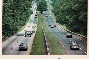 A vintage photo fo traffic on the parkway