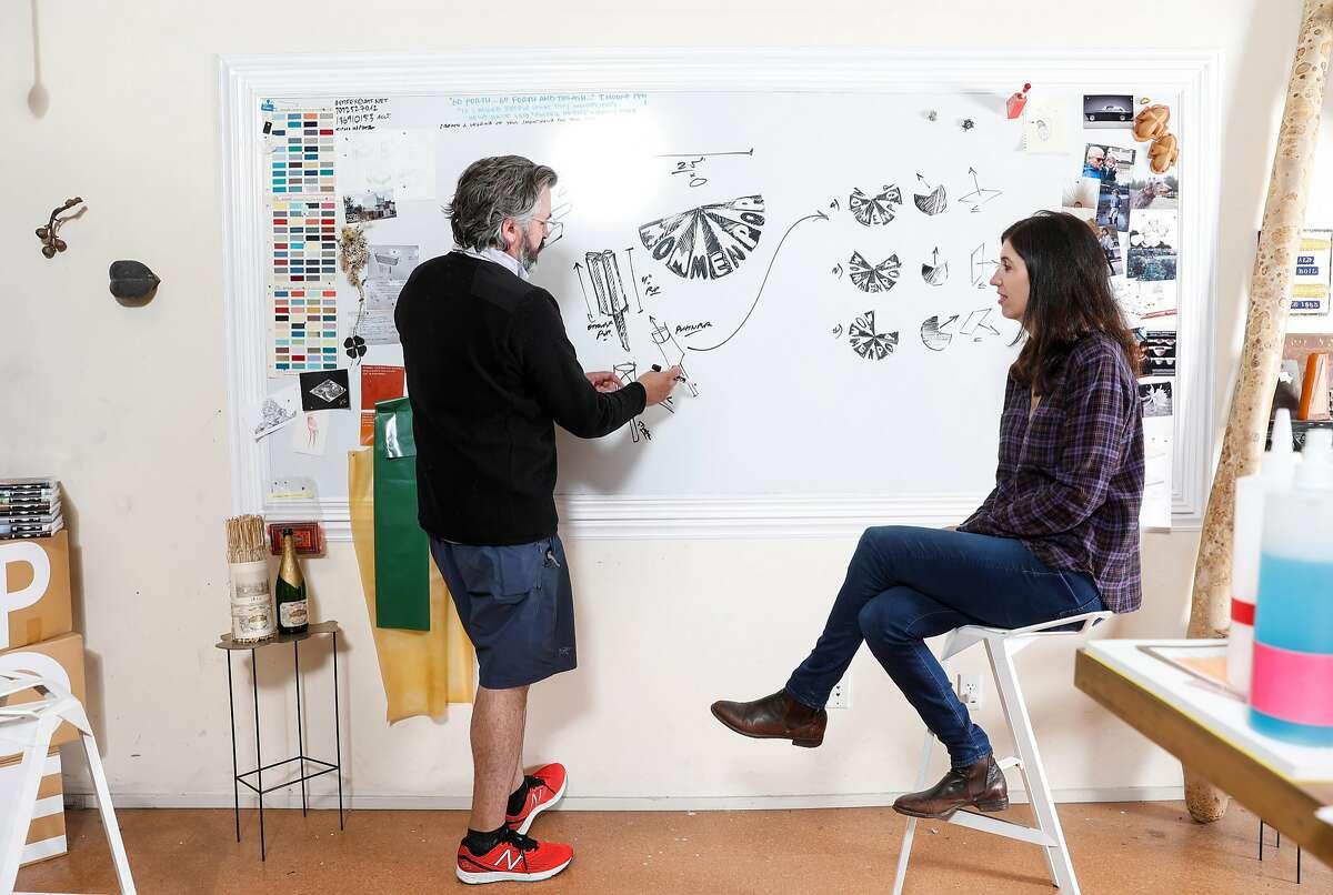 Michael McDermott of Retifex and Samantha Sheehan of Poe Wines brainstorm in McDermott's studio in Napa.