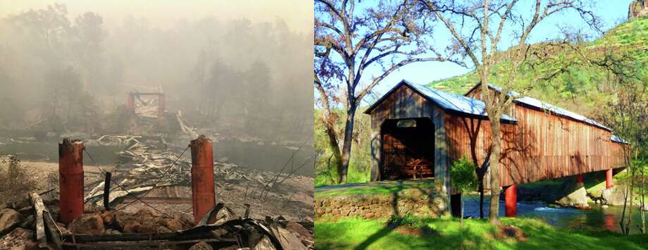 A composite image shows the Honey Run Covered Bridge before and after it was destroyed by the Camp Fire in Butte County this week Photo: Kurtis Alexander (l)/Getty (r)