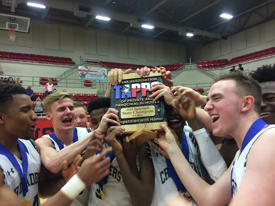 The Concordia Lutheran Crusaders claimed the 2017-18 TAPPS Class 6A state championship after beating St. Pius X, 70-48, the first state title since 1988 when head coach Bill Honeck played for the team.
