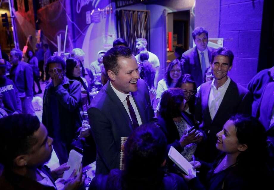 Matt Haney, expected District Six winner, watches the election results. Photo: Carlos Avila Gonzalez / The Chronicle