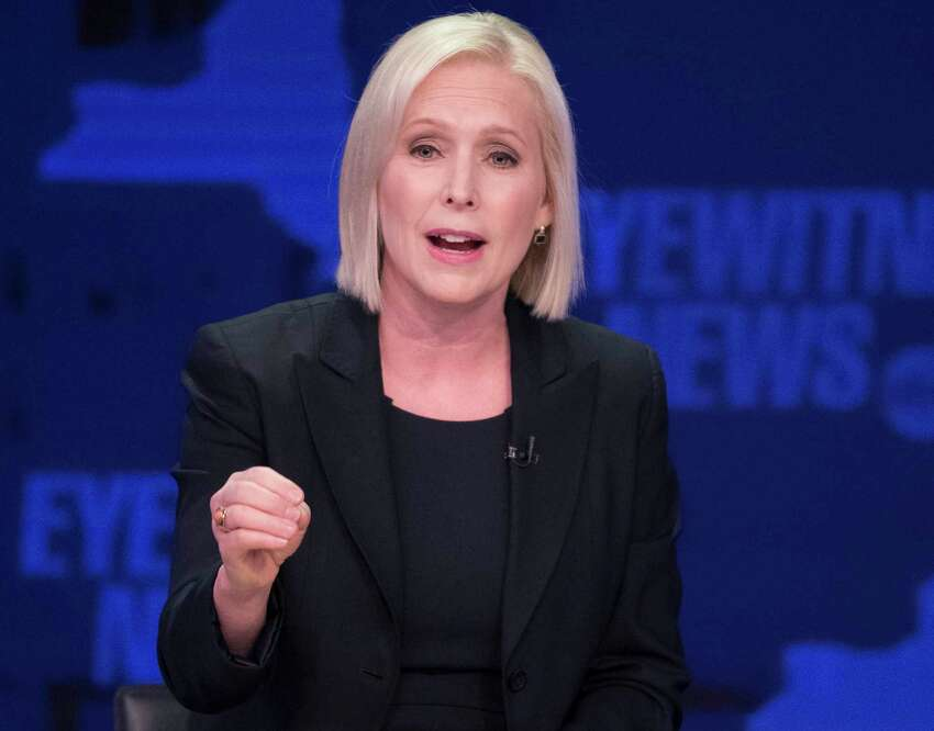 FILE - In this Oct. 25, 2018 file photo, Sen. Kirsten Gillibrand, D-N.Y., speaks during the New York Senate debate hosted by WABC-TV, in New York. Gillibrand's Republican challenger is Chele Farley. (AP Photo/Mary Altaffer, Pool, File)