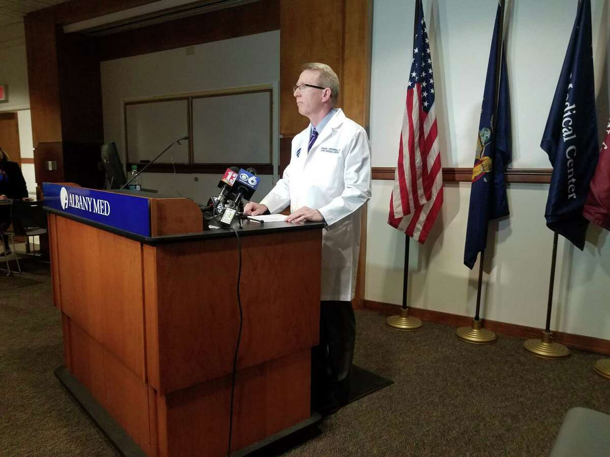 Chief Medical Director Dr. Dennis McKenna addresses reporters about a death that occurred in the Albany Medical Center's emergency department on Nov. 7, 2018. (Chris Churchill / Times Union)