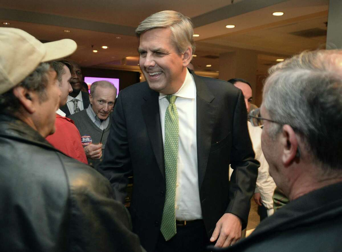 Republican gubernatorial candidate Bob Stefanowski greets supporters at an election night party, Tuesday, Nov. 6, 2018, in Rocky Hill, Conn. (AP Photo/Stephen Dunn)