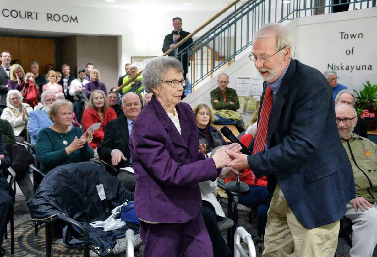 Former Supervisor Ed Reilly's wife and son, Jean Reilly and David Reilly during a renaming and rededication ceremony of the Niskayuna Town Hall in Ed Reilly's honor Friday Nov. 9, 2018 in Niskayuna, NY. (John Carl D'Annibale/Times Union)
