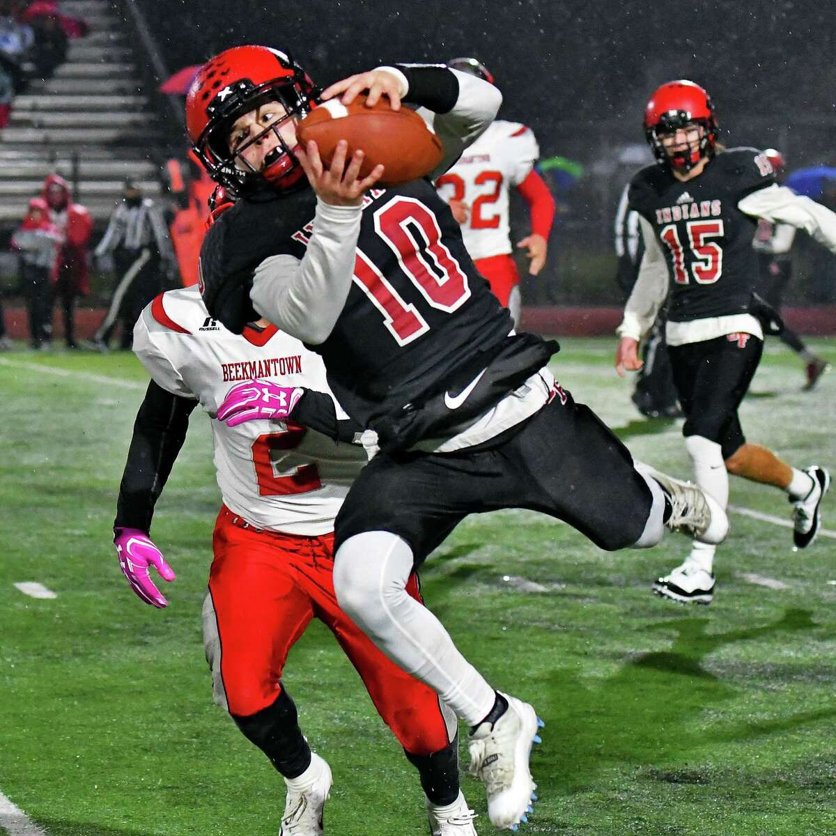 Glens Falls' #10, Trent Girard reels in a pass from QB Joseph Girard III during their game against Beekmantown Friday Nov. 9, 2018 in Clifton Park, NY. (John Carl D'Annibale/Times Union)