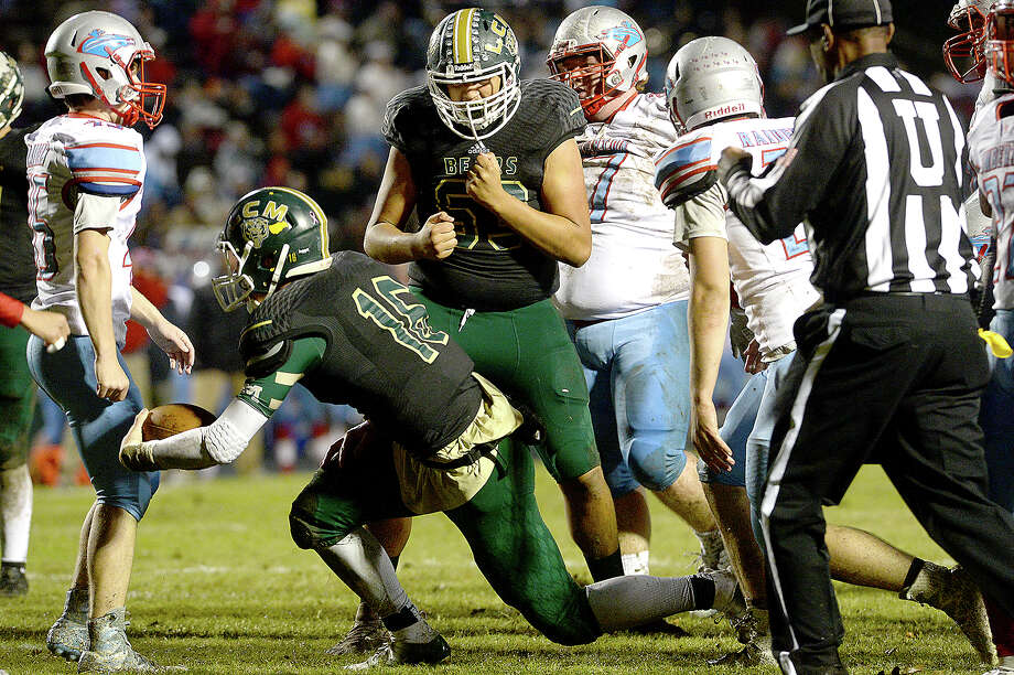 Little Cypress-Mauriceville's Chris Greer reacts after Adam Pope runs in the first touchdown against Lumberton during their district game at LCM. Photo taken Friday, November 9, 2018 Kim Brent/The Enterprise Photo: Kim Brent/The Enterprise