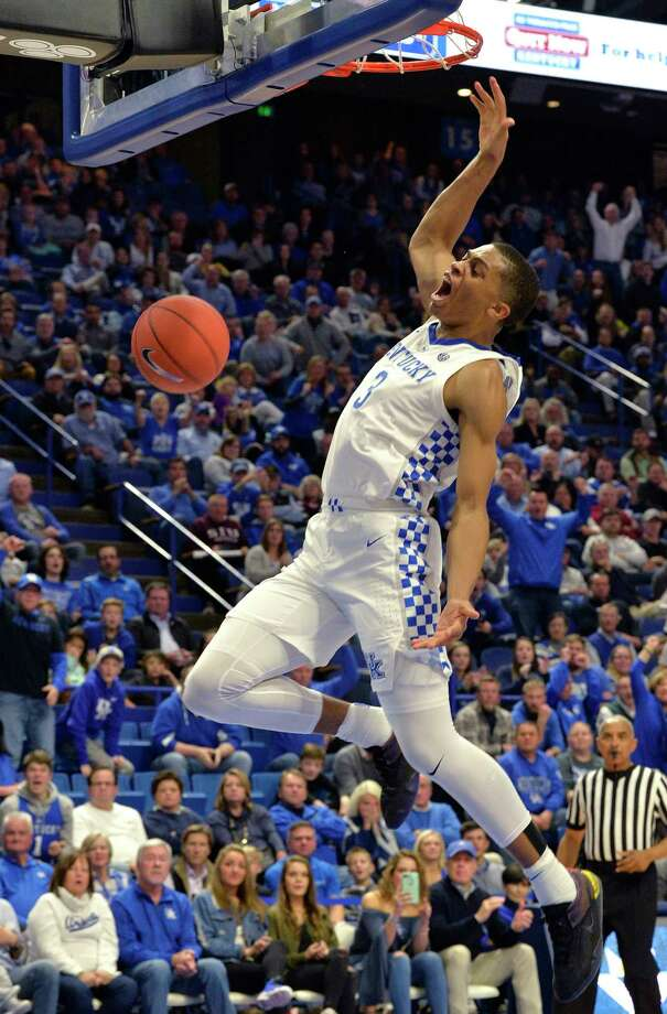 Kentucky guard Keldon Johnson (3) dunks during the second half of the team's NCAA college basketball game against Southern Illinois in Lexington, Ky., Friday, Nov. 9, 2018. Kentucky won 71-59. (AP Photo/Timothy D. Easley) Photo: Timothy D. Easley / Copyright 2018 The Associated Press. All rights reserved