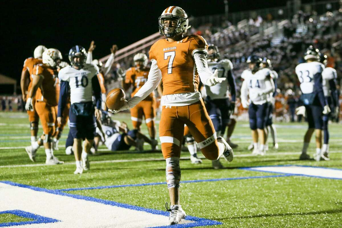 Madison's Aydin Hoffman celebrates in the end zone after a one-yard touchdown reception during the second half of their District 26-5A high school football game with Johnson at Comalander Stadium on Friday, Nov. 9, 2018. The Bexar County Medical Examiner on Monday identified Hoffman as the man shot who was killed in a shooting early Monday morning.