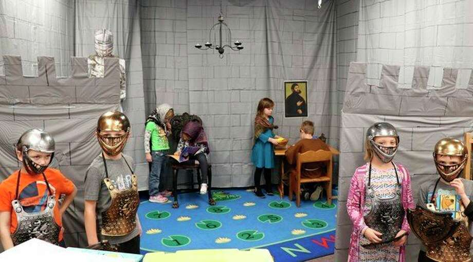 The kindergarten class at St. John's Lutheran School recently had a corner of their classroom turn into a castle for a lesson on Martin Luther's Reformation. (photo provided)