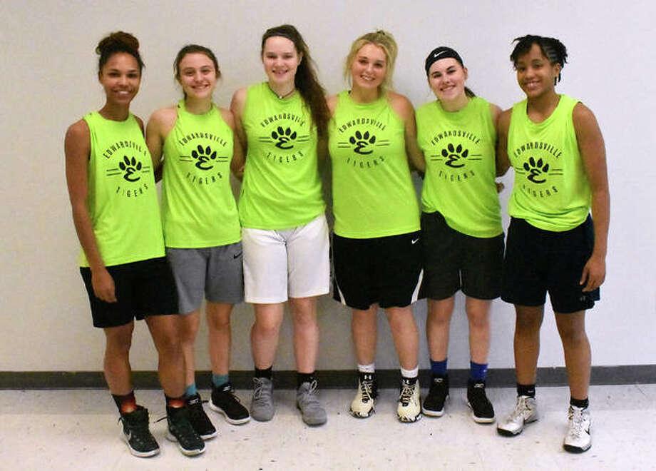 Edwardsville seniors include, from left to right, Ellen Schulte, Megan Silvey, Madelyn Stephen, Morgan Hulme, Mackenzie Lyerla and Jaylen Townsend. Photo: Matt Kamp/Intelligencer