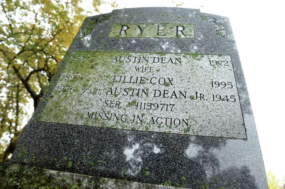 The name of Austin Ryer Jr. the last Branford resident to die in World War II, is included on family gravestone in Branford Center Cemetery. Photo: Arnold Gold / Hearst Connecticut Media / New Haven Register