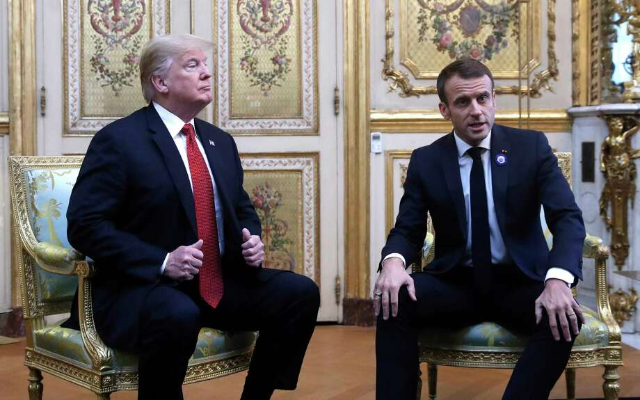President Donald Trump meets with French President Emmanuel Macron inside the Elysee Palace in Paris Saturday Nov. 10, 2018. Trump is joining other world leaders at centennial commemorations in Paris this weekend to mark the end of World War I. Photo: Jacquelyn Martin, AP / Copyright 2018 The Associated Press. All rights reserved.